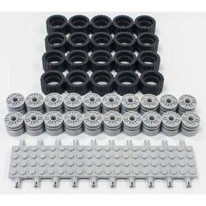 54 Piece LEGO Bulk Lot of 24 Wheels,24 Rims,6-1 Piece Chassis