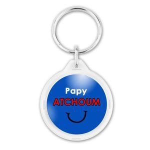 PORTE-CLÉS Porte-Clés Rond Plastique Papy Atchoum - Fond bleu