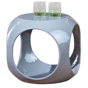 TABLE D'APPOINT Table d'appoint cube coloris gris - Dim :  L 40 x