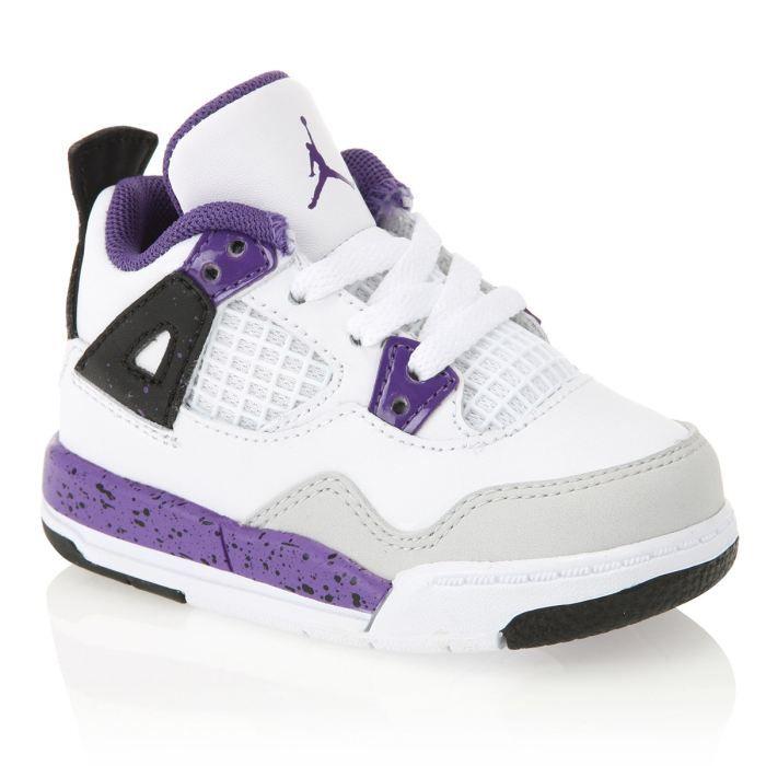 NIKE Baskets Jordan 4 Retro Bébé Blanc, violet et noir - Cdiscount ...