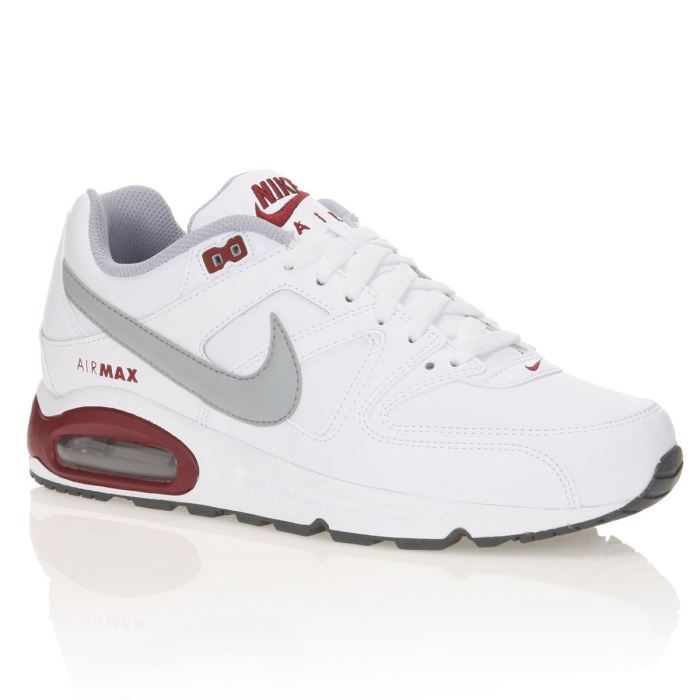 on feet images of hot new products huge discount NIKE Baskets Air Max Command Leather Homme Blanc / Rouge - Achat ...