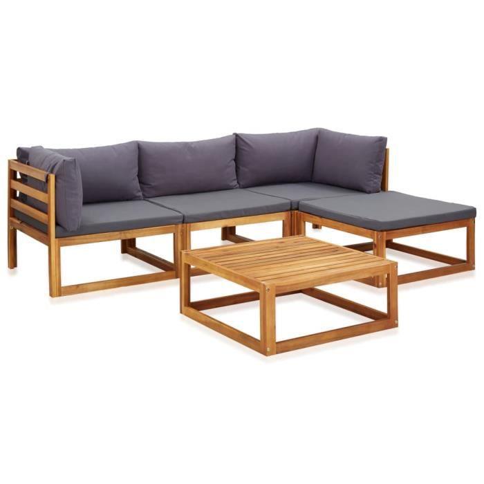 LIUX Mobilier de jardin 5 pcs avec coussins - Bois d'acacia solide
