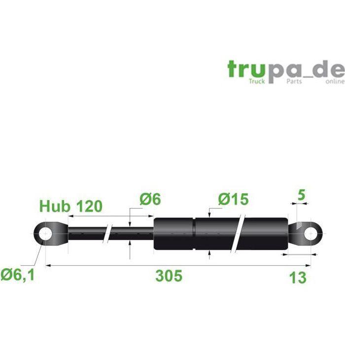 Ressort Vérin à gaz en acier Ø6mm - force 200N - course 120mm