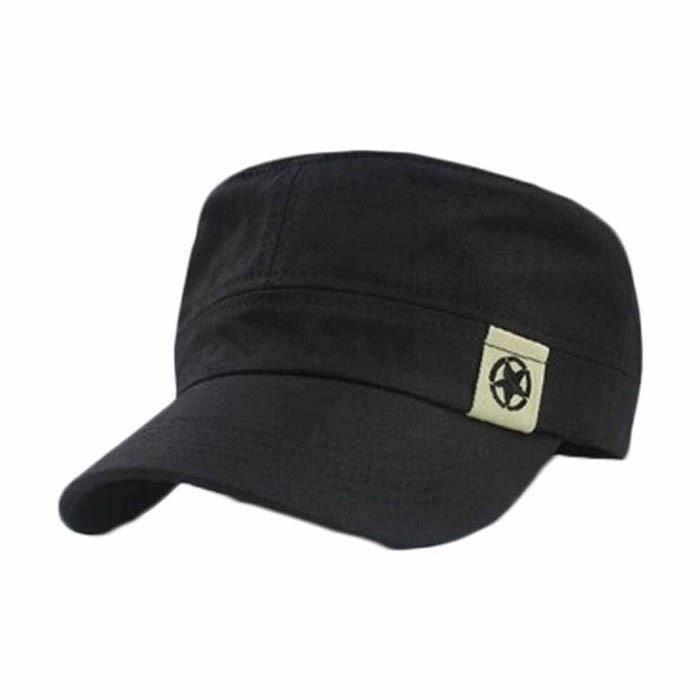 Merci Black New Flat Roof Military Hat Cadet Patrol Bush Hat Baseball Field Cap Black
