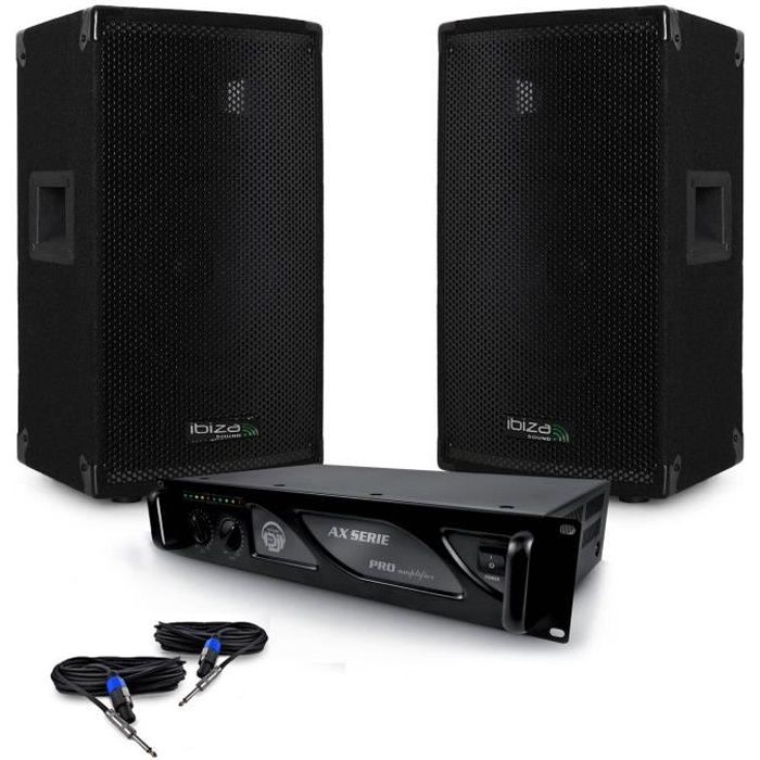 Pack SONO DJ enceintes passives 1200W DISCO12 IBIZA SOUND + Amplificateur MyDj 2000W + Câbles
