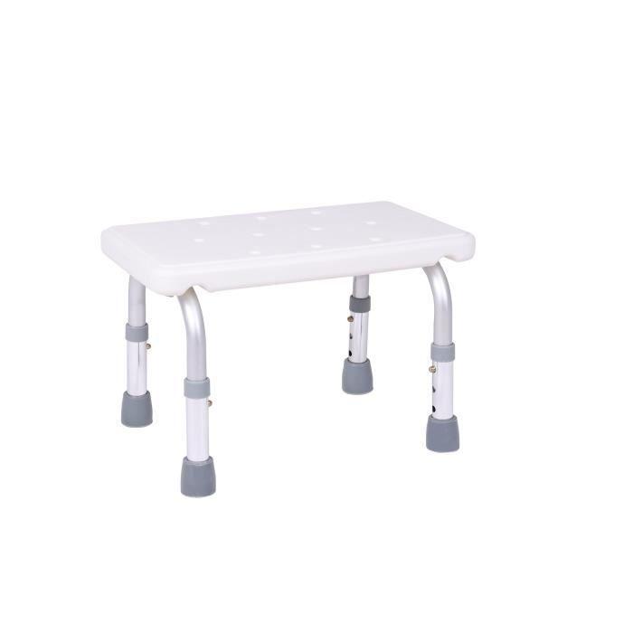 Marche pied de salle de bain AUTONOMIE ET BIEN ÊTRE TMI 2108 - Pieds aluminium et dessus ABS - 41 x 14 x 23cm - Blanc