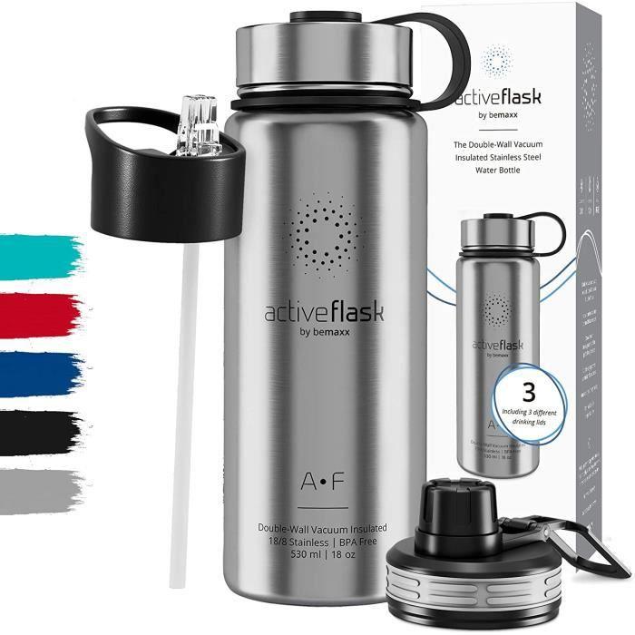 Gourde INOX Isotherme Active Flask 1l/500ml sans BPA + Paille (3 Bouchons) - Bouteille d'Eau Acier Inoxydable Isolée, Thermos Réutil