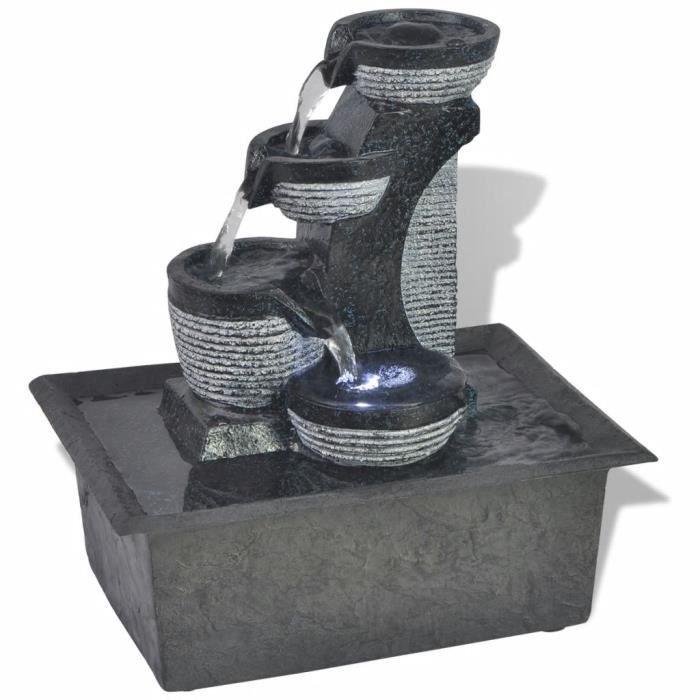 Fontaine d'intérieur avec lampe LED - Résine Synthétique - Déco de Bureau&Jardin - Quatre Niveaux d'un Flux d'eau - 22,5x17x25,5cm