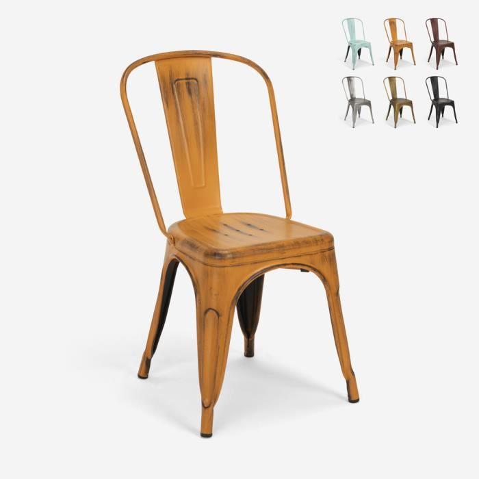 Chaises design industriel vintage en métal shabby chic style Tolix Steel Old, Couleur: Orange