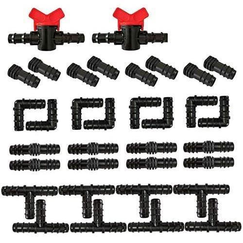 kit de robinetterie dirrigation - raccords pour tuyau darrosage 34 pièces - noir