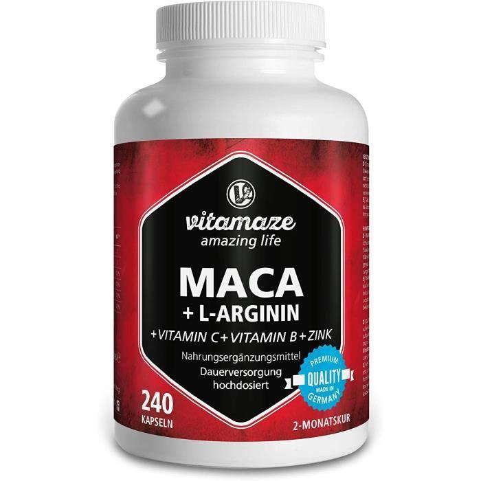 Maca Vitamaze® Maca en capsules fortement dosées 4000 mg + L-Arginine 1800mg + Vitamines + Zinc, 240 capsules pour 2 moi 331211
