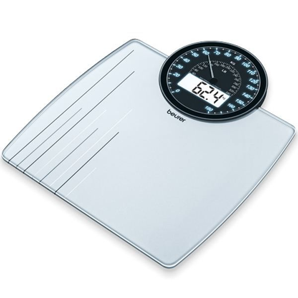 Beurer Pèse-personne en  verre affichage numérique et analogique GS 58