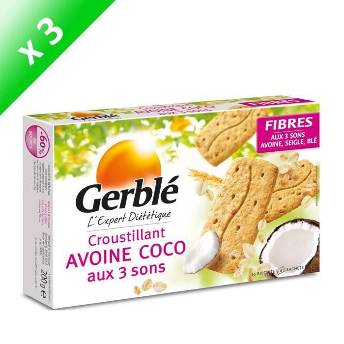 [LOT DE 3] GERBLE Biscuits croustilant à l'avoine, coco aux 3 sons - 200 g