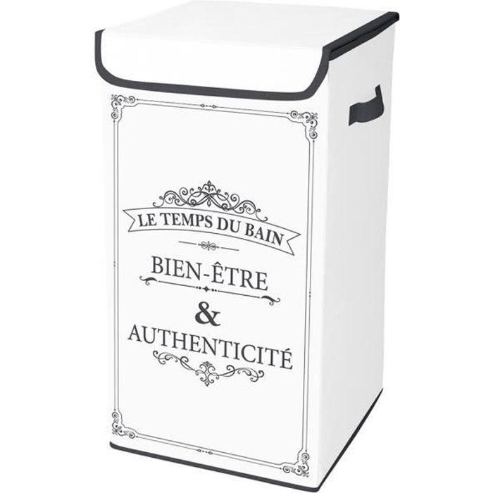 Coffre à linge intissé 54L Vintage Autres Blanc