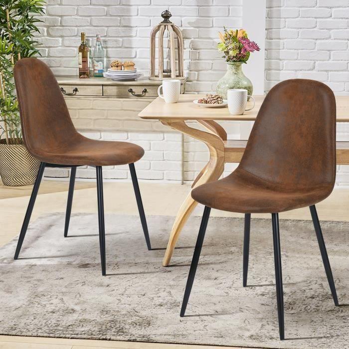 FurnitureR Lot de 2 Chaise de Salle à Manger Vintage en Daim Chaise de cuisine Pied en Métal