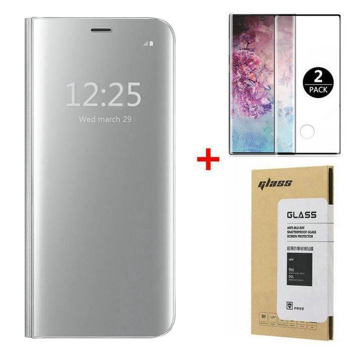 Coque Samsung Galaxy Note 10 Plus +[2 Pack] Verre trempé 3D Déverrouillage d'empreintes digitales,Miroir Flip Case Housse Étui pour
