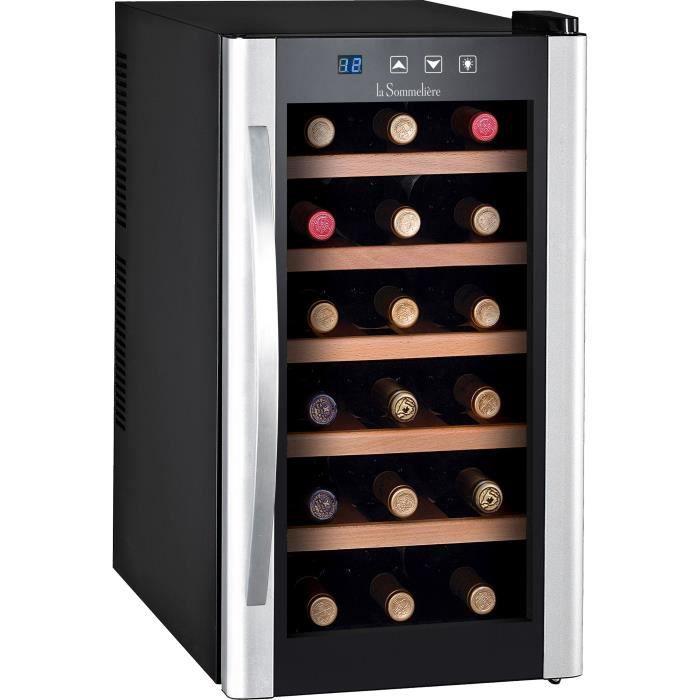 LA SOMMELIERE LS18KB - Cave à vin de Service - 18 bouteilles - Pose libre - B - Porte Vitrée - L 34.5 x H 63.6 cm