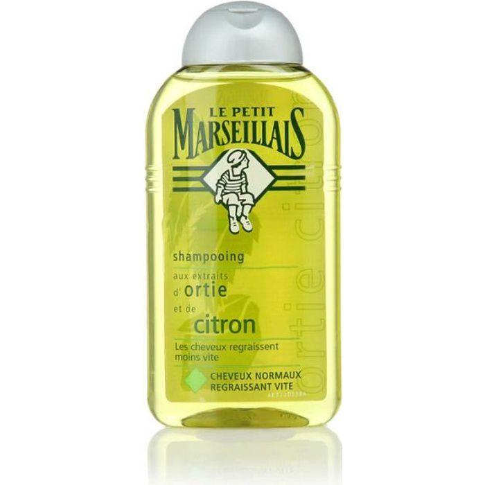 LE PETIT MARSEILLAIS Shampoing pour cheveux normaux regraissant vite - Ortie Citron - 250 ml