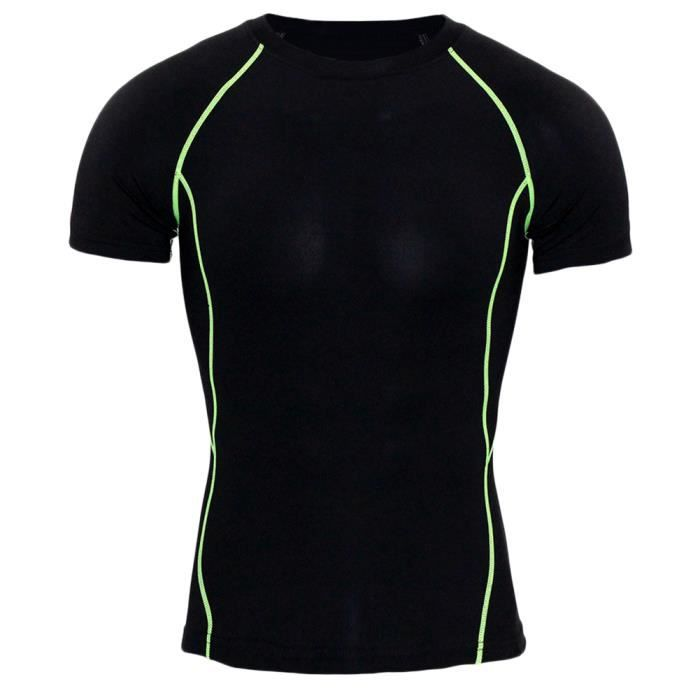 T Shirt Fitness À Manches Courtes Homme Maillot Compression Tops Base Layer Fitness Running Vert Court 2XL