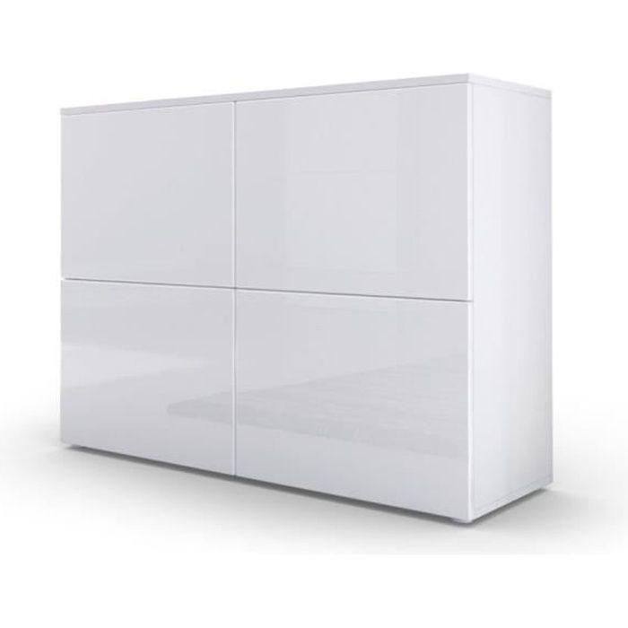Commode moderne blanche façades laquées et corps mat