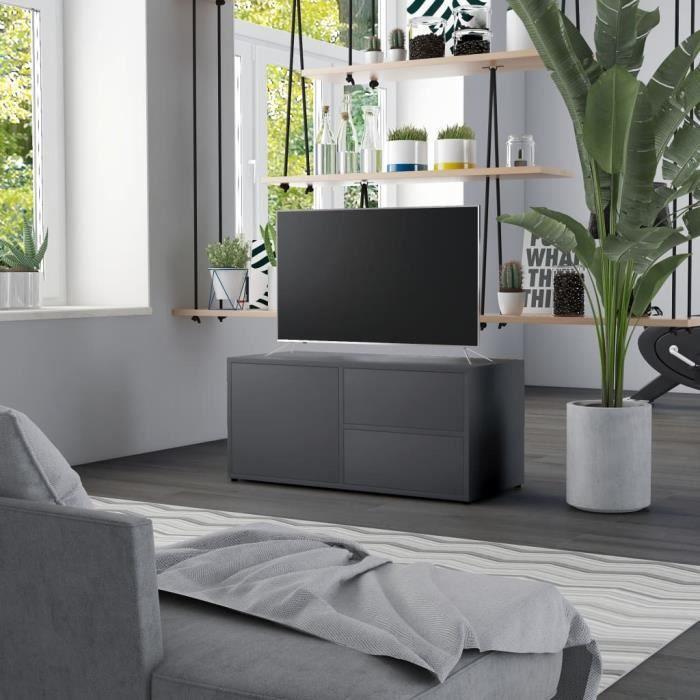 365Antique•)Meuble de Télévision-Banc TV-Meuble de salon-Meuble TV Gris 80x34x36 cm Aggloméré,80 x 34 x 36 cm MAISON Top Sélection