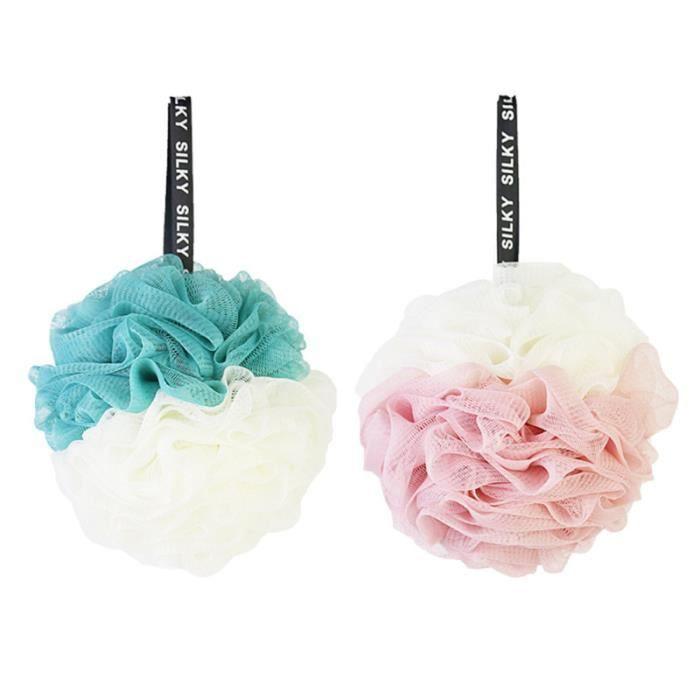 2pcs boules de bain double couleur grande boule de douche pour les femmes HYDRATANT CORPS - HYDRATANT MULTI-USAGE
