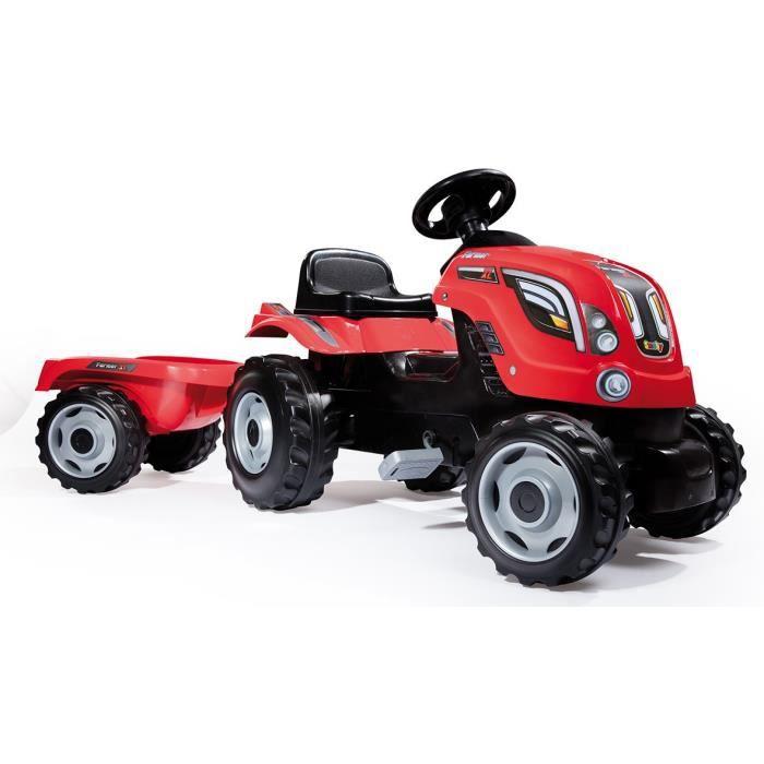 SMOBY Tracteur à pédales Farmer XL Rouge + Remorque
