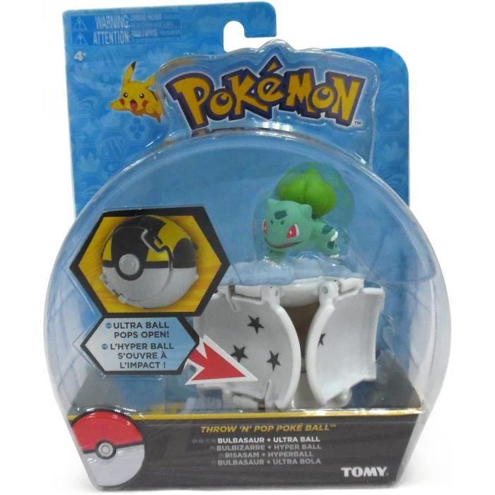 Pokémon Throw ' N ' Pop poké ball - Figurine Bulbizarre 5cm + Hyper ball - T19110 - Neuf