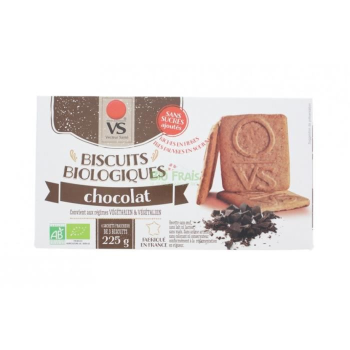 Biscuits chocolat sans sucre ni sel BIO - boite 22