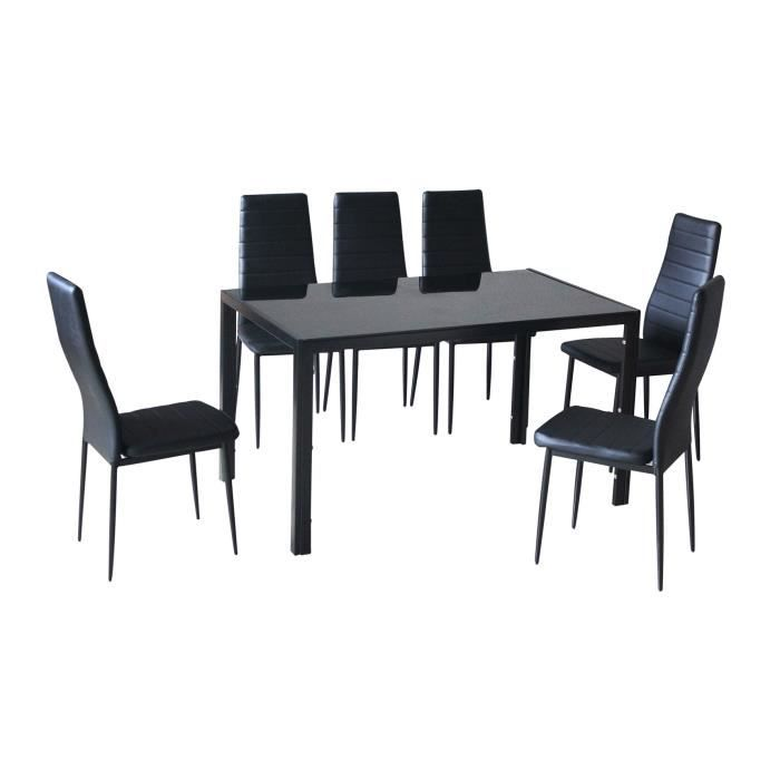 Table en verre 6 chaises noir malia achat vente for Table 6 personnes dimensions