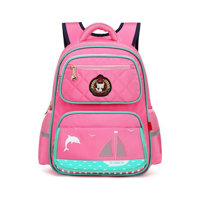 Cartable Enfant Fille Princesse Sac à Dos Scolaire Rose