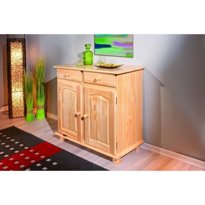 bahut bas 2 portes pin massif vernis naturel achat vente buffet bahut bahut bas 2 portes. Black Bedroom Furniture Sets. Home Design Ideas