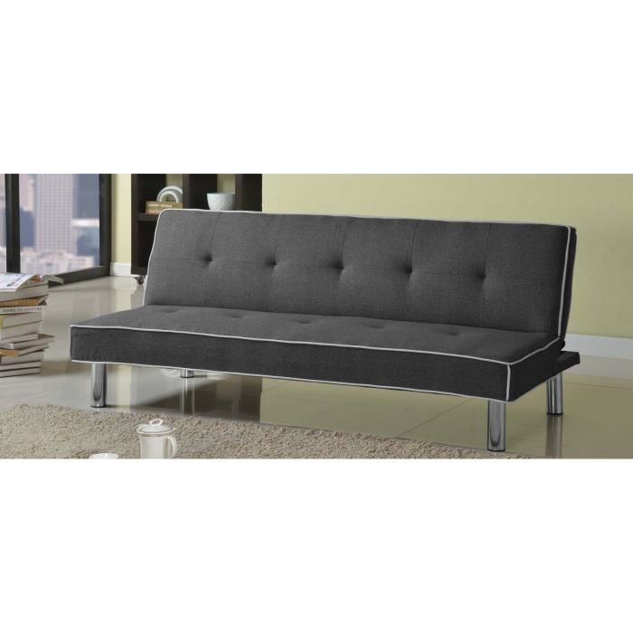 canap clic clac 3 places gris amazone achat vente canap sofa divan cdiscount. Black Bedroom Furniture Sets. Home Design Ideas