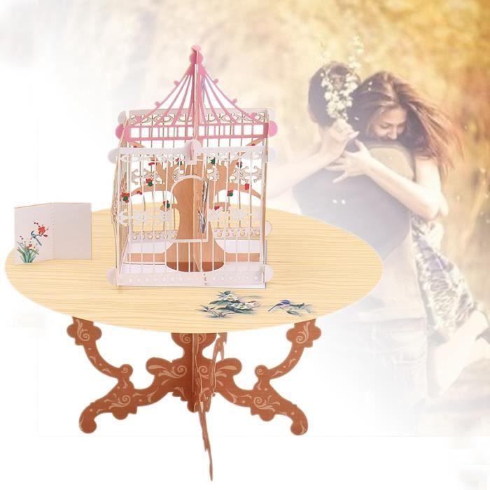 1 Pc Pop Up 3d Carte Postale De Mariage Cadeau Carte De Voeux Artisanales Table Cage à Oiseaux Patern Heureux Danniversaire Amour C