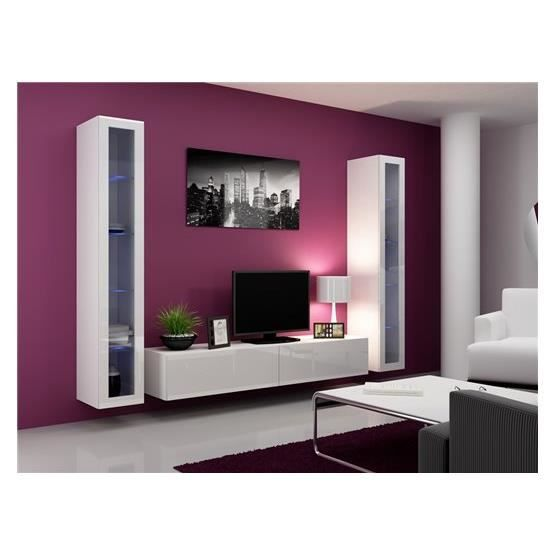 ensemble meuble tv design miro blanc achat vente meuble tv meuble tv miro bl cadeaux de. Black Bedroom Furniture Sets. Home Design Ideas