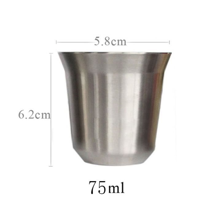 1pcs 75ml tasse caf pour nespresso pixie isolante thermique acier inoxydable argent achat. Black Bedroom Furniture Sets. Home Design Ideas