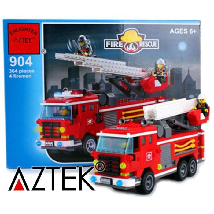 aztek lego style camion de pompier jeu d assemblage construction jeu d initiation 364pcs achat. Black Bedroom Furniture Sets. Home Design Ideas