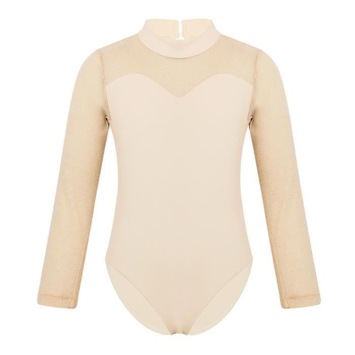 iiniim Justaucorps Ballet Danse Classique L/éotard Manches Courtes Enfant Fille Mousseline de Soie Costume de Sport Bodys Gymnastique Dancewear Grande Taille 3-12 Ans