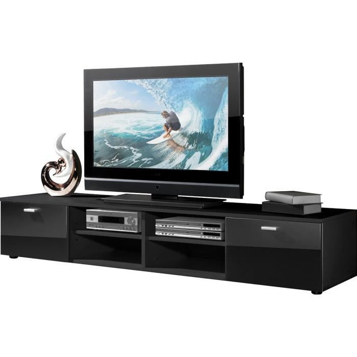 meuble tv en bois coloris noir avec 4 compartiments et 2 portes l 160 x h 30 x p 40 cm achat. Black Bedroom Furniture Sets. Home Design Ideas