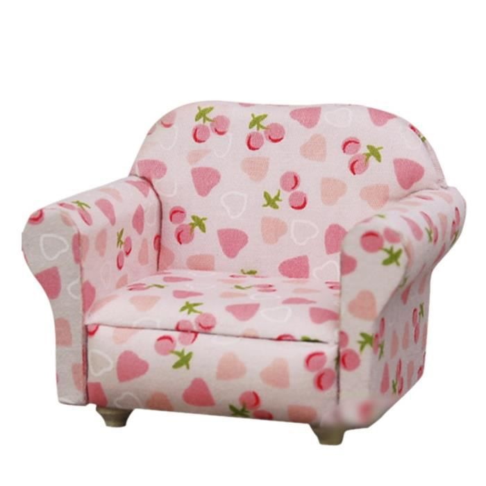 Mini canapé canapé 2 coussins pour la maison de poupée