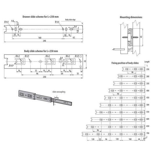 406mm Lot de 4 Coulisse de tiroir rails t/élescopiques tiroir montage lat/éral L