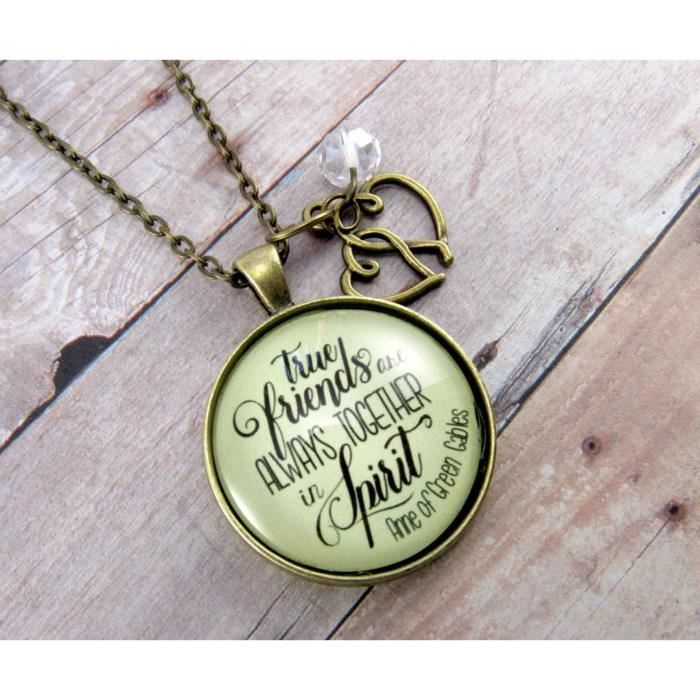 Womens 36 True Friends Are Always Together Best Friend Necklace Literature Quote Bronze Pendant D F17TF