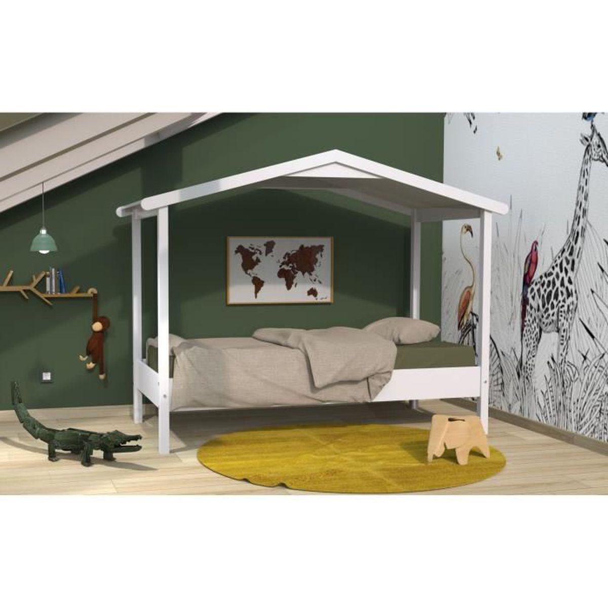 ROBINSON Lit cabane contemporain en bois tilleul massif décor blanc et  laqué blanc mat - l 90 x L 190 cm