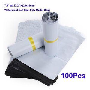 Lot de 50 sacs postaux gris Imperm/éables En plastique recycl/é Enveloppes de sacs postaux Adh/ésif auto-scellant