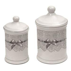 DISTRIBUTEUR DE COTON Lot de 2 pots à coton dentelle Mathilde M