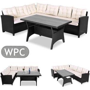 Salon/Canapé d\'angle en polyrotin avec table en bois ...