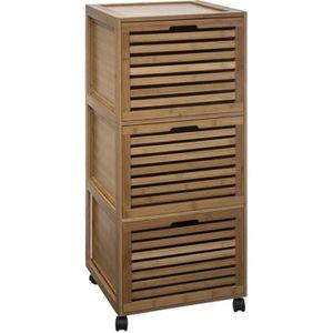 MEUBLE BAS COMMODE SDB Five - Meuble de salle bain 3 tiroirs en Bambou et