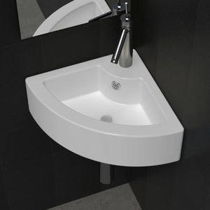Lia Vasque A Poser Lave Main Angle Blanc En Ceramique Trop Plein Achat Vente Lavabo Vasque Vasque A Poser Lave Main Cdiscount