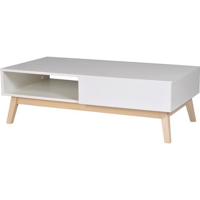 TABLE BASSE HOME Table basse scandinave blanc satiné avec pied