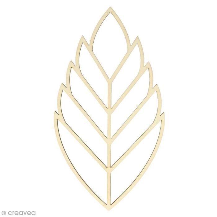 Forme en bois à décorer - Feuille ajourée - 26 x 14 cm - 1 pce Forme en bois idéale pour la décoration : Forme : Feuille ajourée1